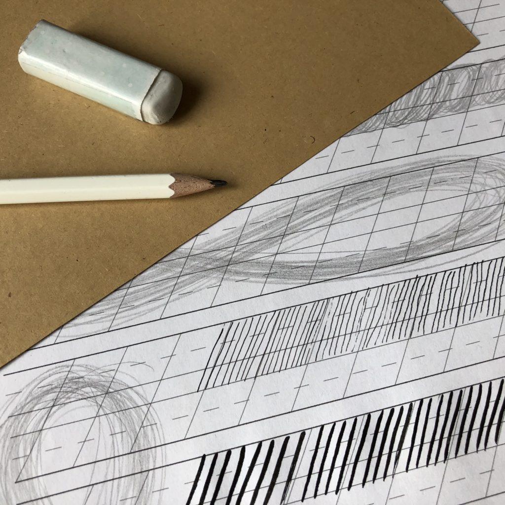 Kalligrafie lernen Material Aufwärmen mit Bleistift